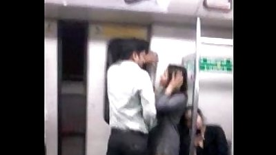 Desperate lovers in delhi metro kiss n boob press wid audio - fuckmyindiangf.com